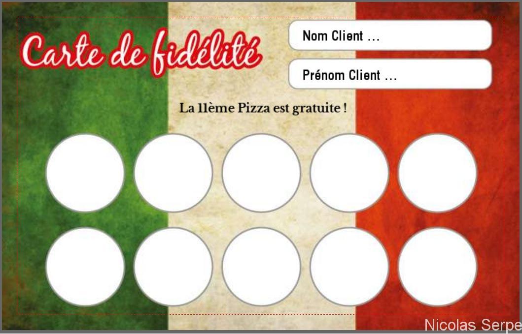modèle carte de fidélité gratuit à personnaliser pour restaurant pizzeria