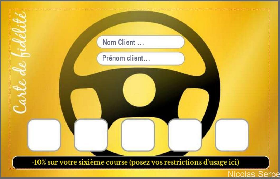 modèle carte de fidélité gratuit à personnaliser pour Taxi, Chauffeur VTC